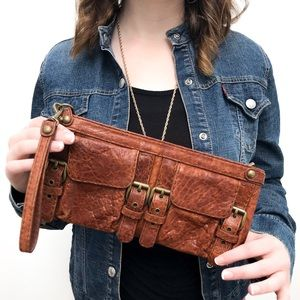 Kooba Brown Leather Clutch Wristlet With Buckles
